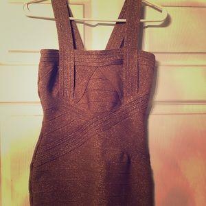 Cinderella Bronze Bandage Mini Dress